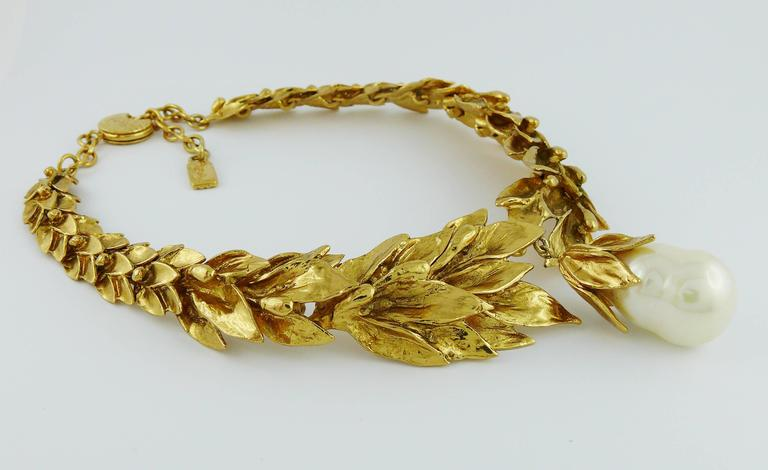 Yves Saint Laurent YSL Vintage Gold Toned Necklace 3
