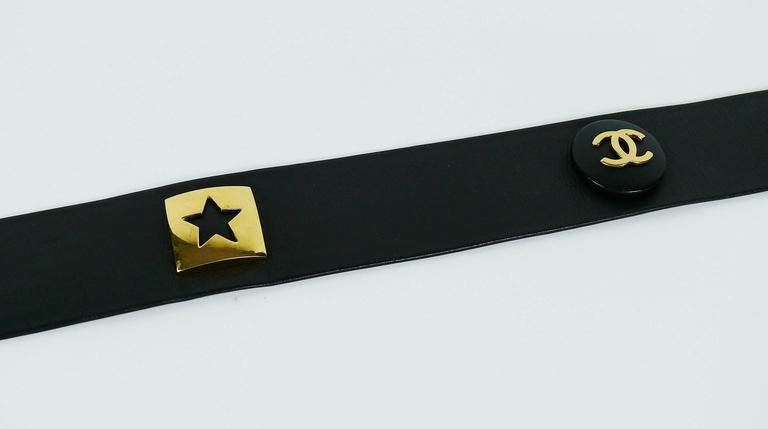 Chanel Vintage 1993 Wide Black Leather Belt with Iconic Ornaments 4