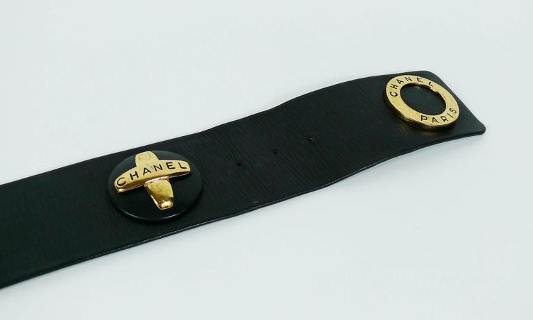 Chanel Vintage 1993 Wide Black Leather Belt with Iconic Ornaments 5