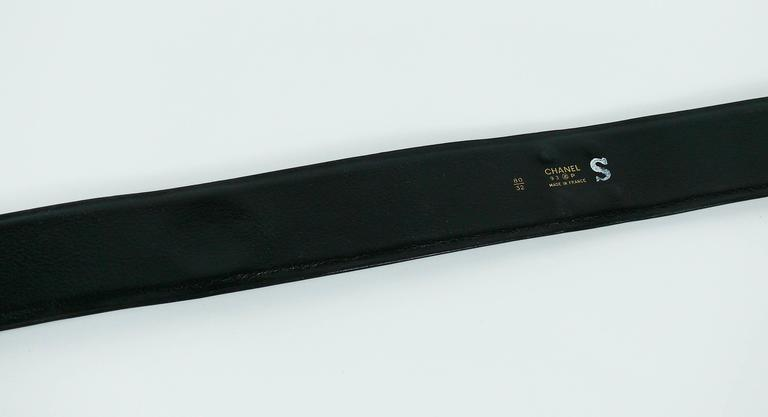 Chanel Vintage 1993 Wide Black Leather Belt with Iconic Ornaments 8