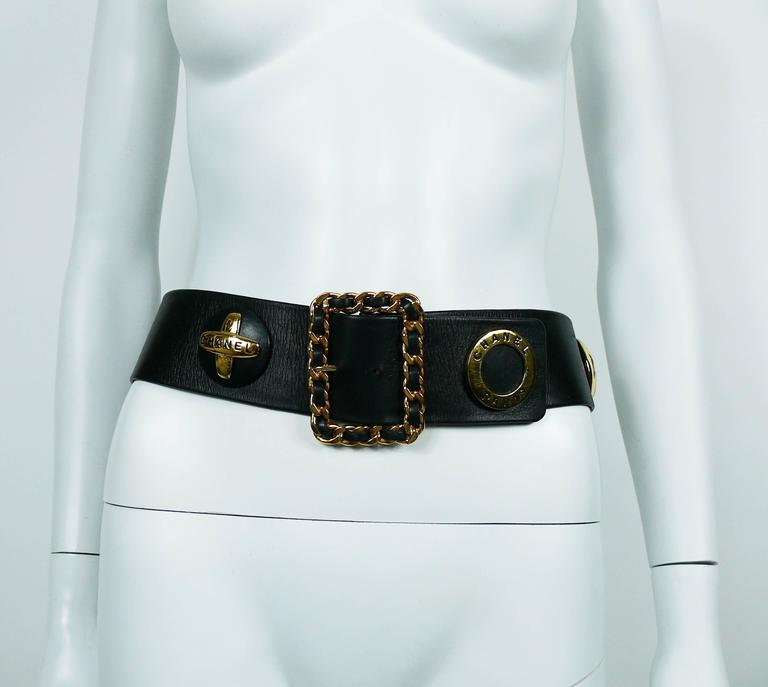 Chanel Vintage 1993 Wide Black Leather Belt with Iconic Ornaments 6