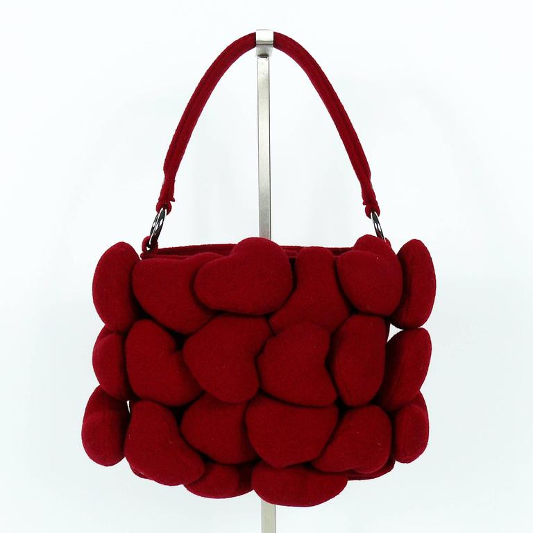 Moschino Iconic Red Multi Heart Handbag For Sale 2