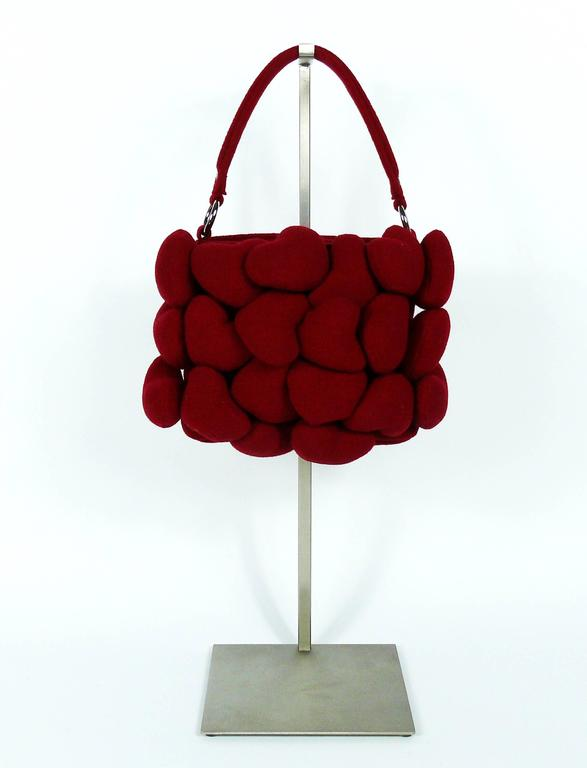 Moschino Iconic Red Multi Heart Handbag In Good Condition For Sale In French Riviera, Cote d'Azur