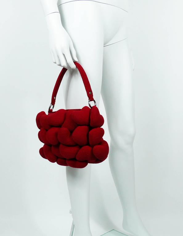 Women's Moschino Iconic Red Multi Heart Handbag For Sale