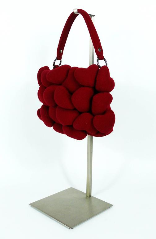 Moschino Iconic Red Multi Heart Handbag For Sale 3