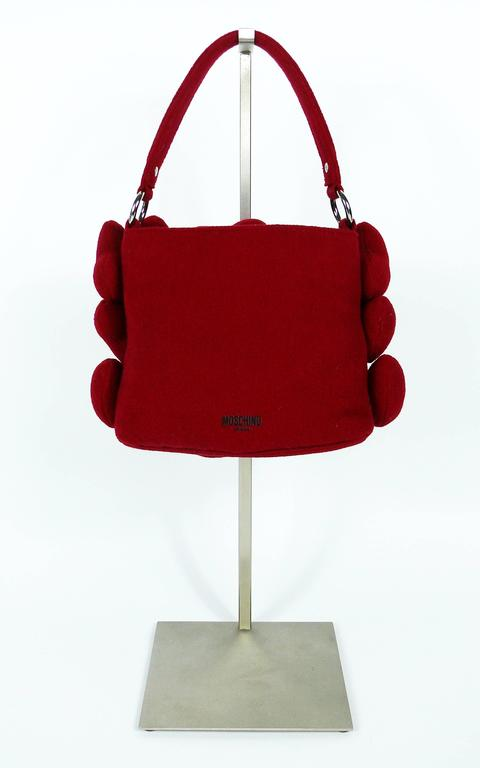 Moschino Iconic Red Multi Heart Handbag For Sale 4