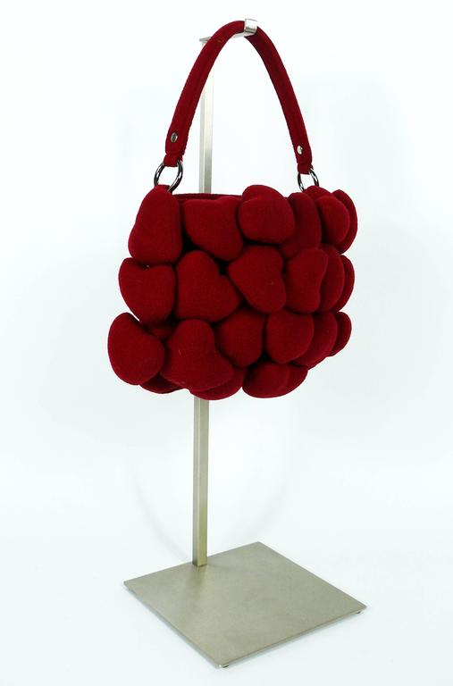 Moschino Iconic Red Multi Heart Handbag For Sale 1