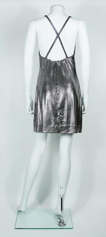Paco Rabanne Silver Foil Grid Mini Dress 5