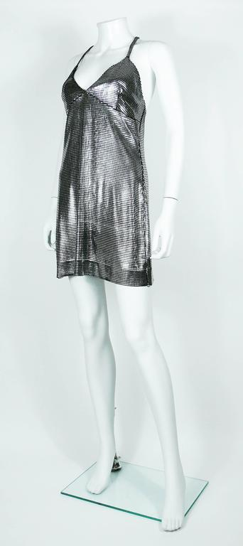 Paco Rabanne Silver Foil Grid Mini Dress In Good Condition For Sale In French Riviera, Cote d'Azur