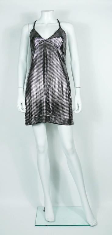 Paco Rabanne Silver Foil Grid Mini Dress 3