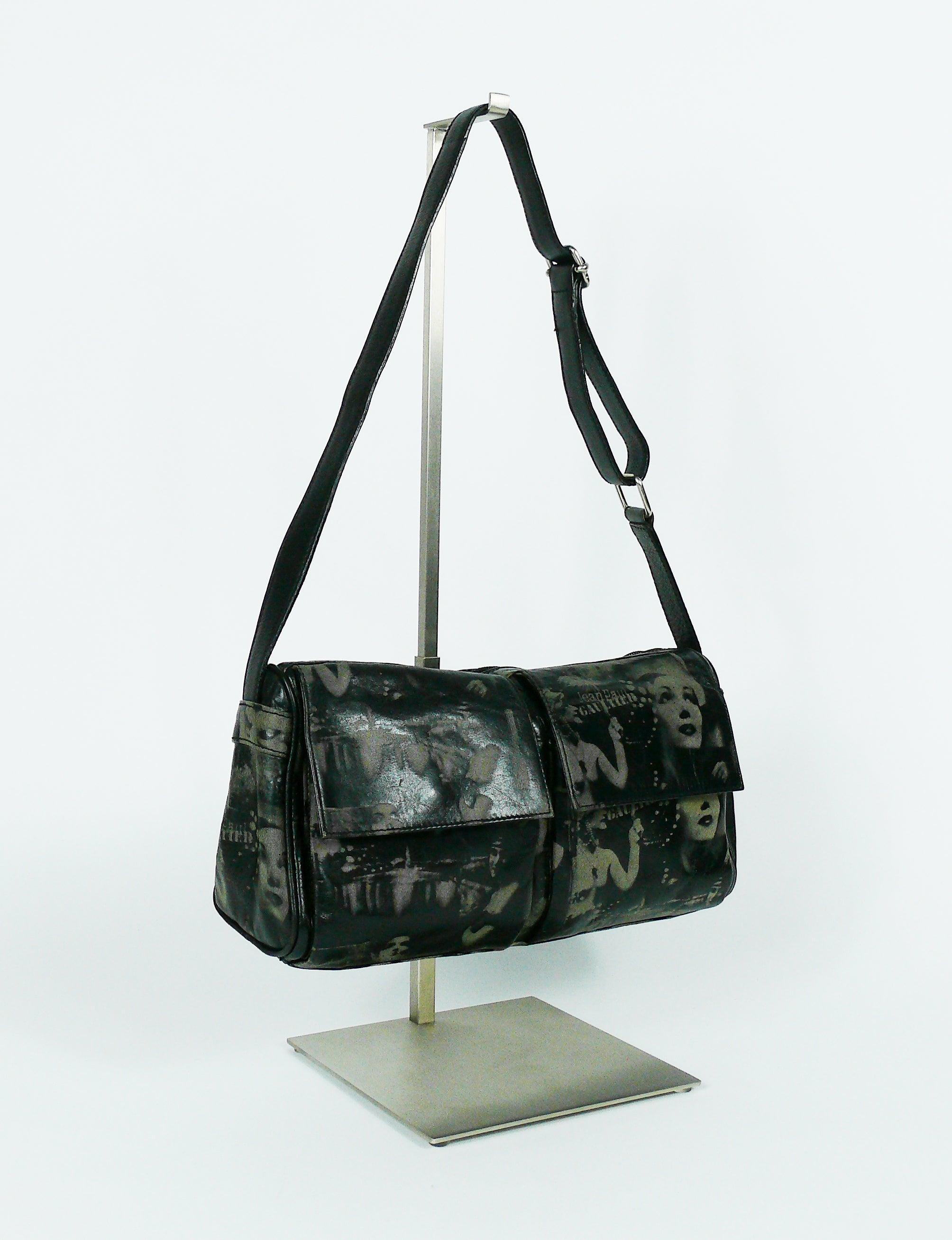 4cc384a515 Jean Paul Gaultier Vintage Retro Dietrich Print Leather Shoulder Bag For  Sale at 1stdibs
