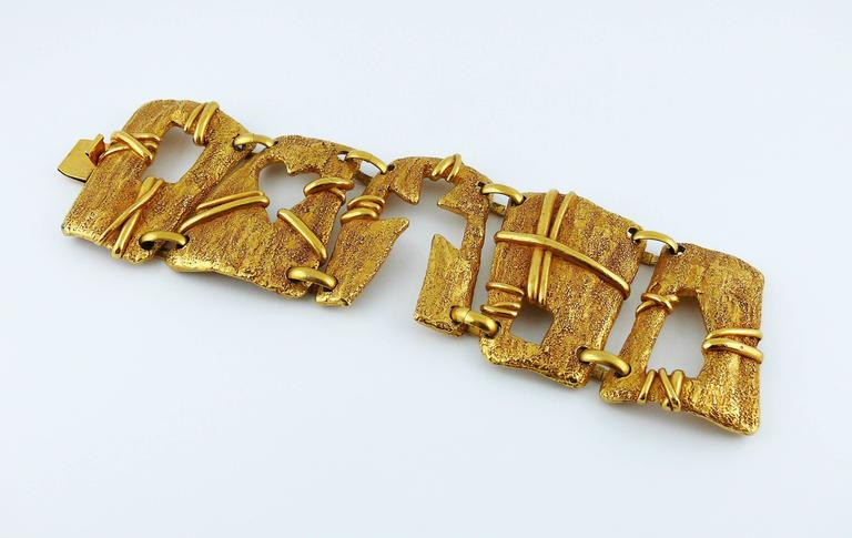 christian lacroix vintage gold toned cut out cuff bracelet for sale at 1stdibs. Black Bedroom Furniture Sets. Home Design Ideas