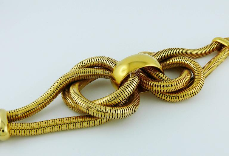 Celine Vintage Chunky Gold Toned Snake Chain Knot Necklace For Sale 1