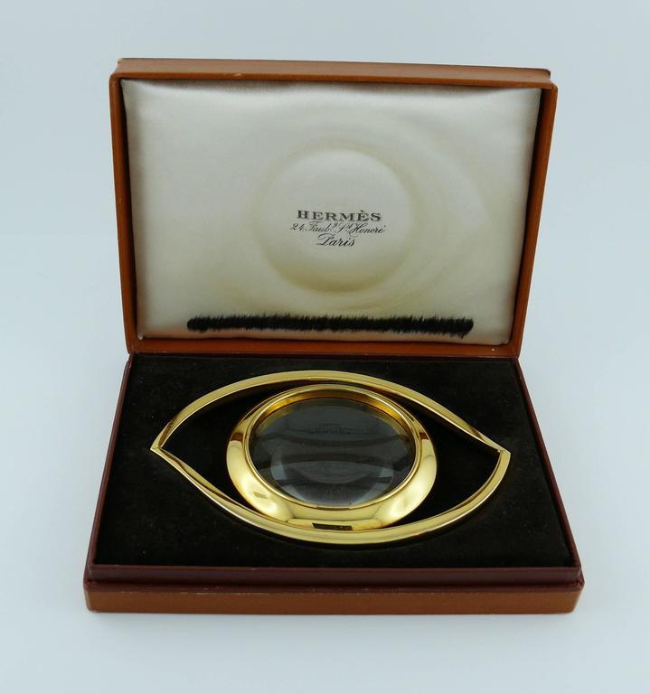 Herm 232 S Vintage Cleopatra Eye Gold Toned Desk Magnifying