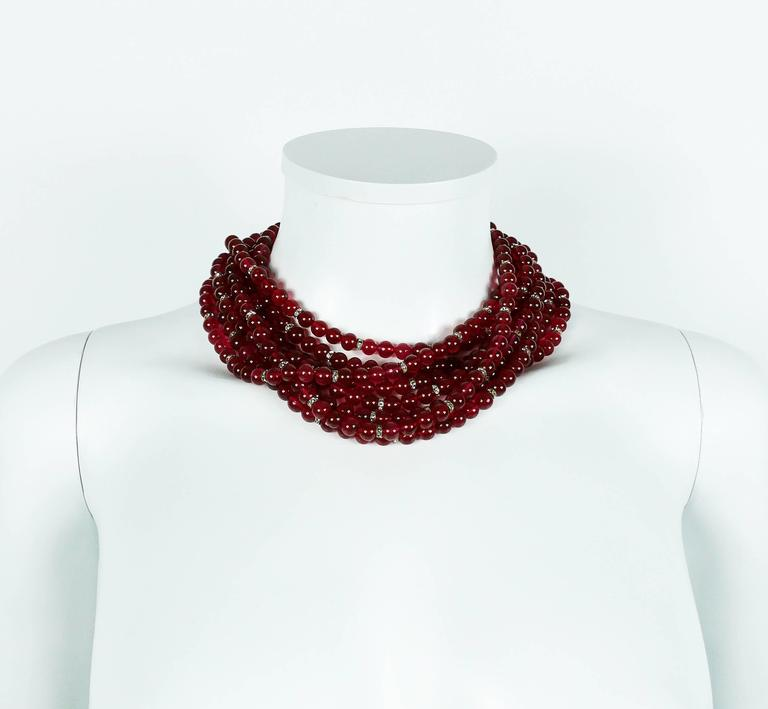 Chanel Vintage 1970s Multi-Strand Ruby Glass Necklace 5