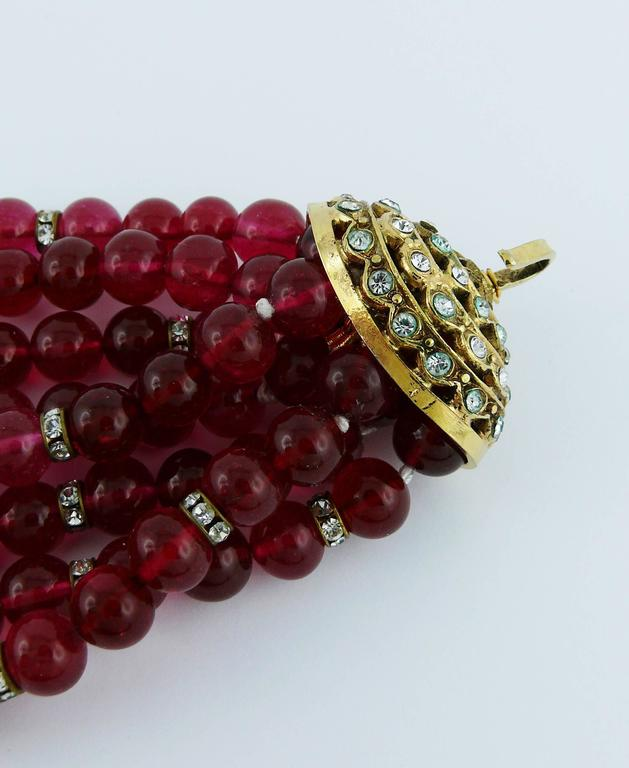 Chanel Vintage 1970s Multi-Strand Ruby Glass Necklace 8