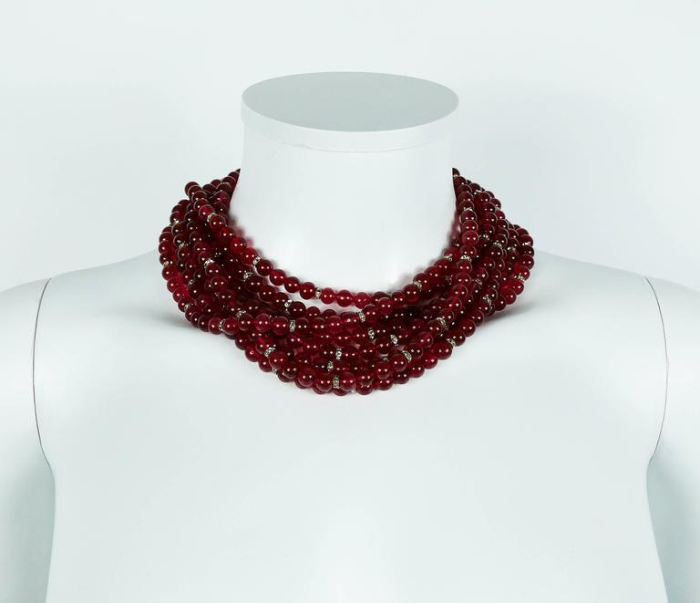 Chanel Vintage 1970s Multi-Strand Ruby Glass Necklace 2