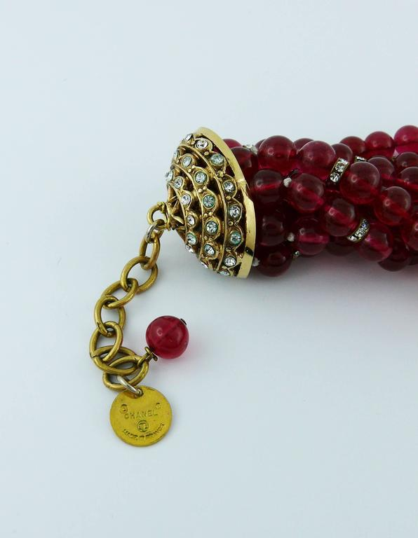 Chanel Vintage 1970s Multi-Strand Ruby Glass Necklace 9