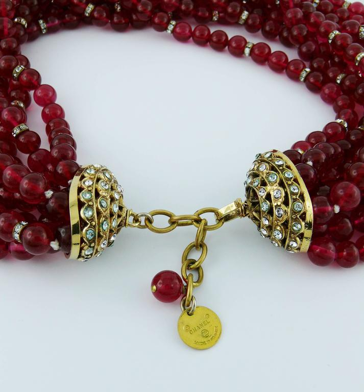 Chanel Vintage 1970s Multi-Strand Ruby Glass Necklace 10