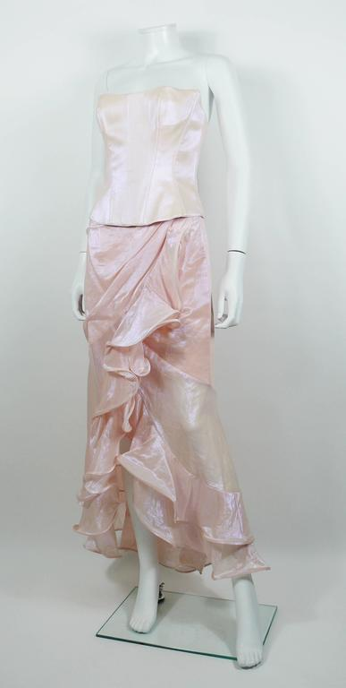 Thierry Mugler Couture Vintage Iridescent Pink Two Piece Suit In Good Condition For Sale In Nice, FR