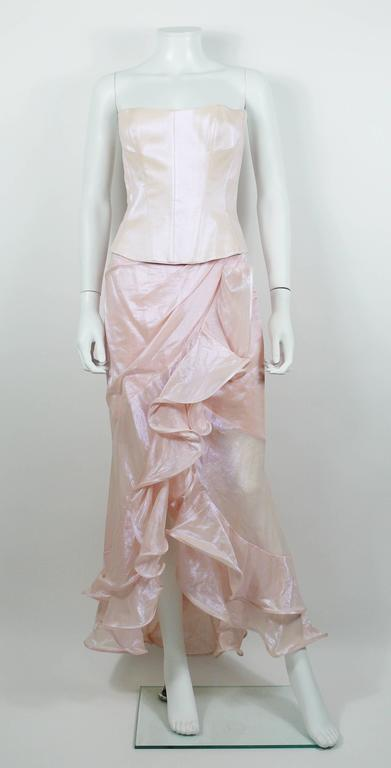 Gray Thierry Mugler Couture Vintage Iridescent Pink Two Piece Suit For Sale