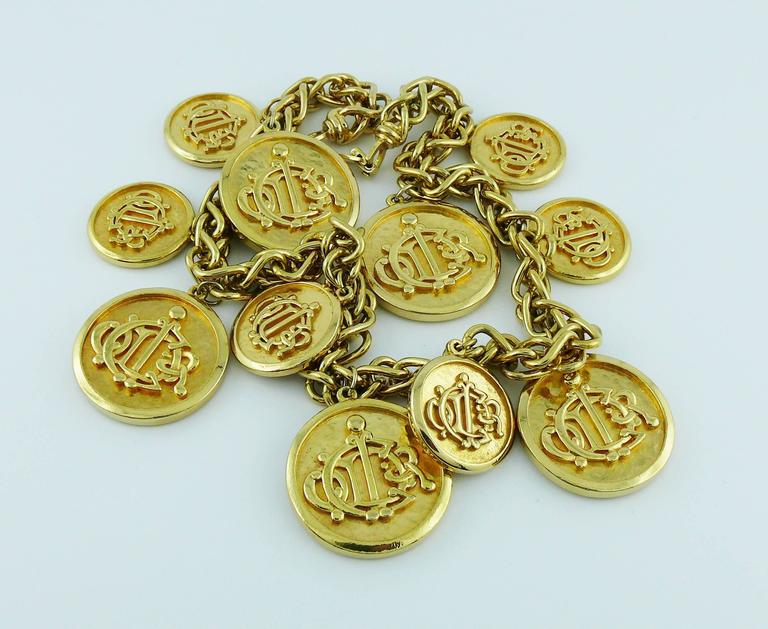 Christian Dior Vintage Gold Toned Signature Coin Charm Necklace 7