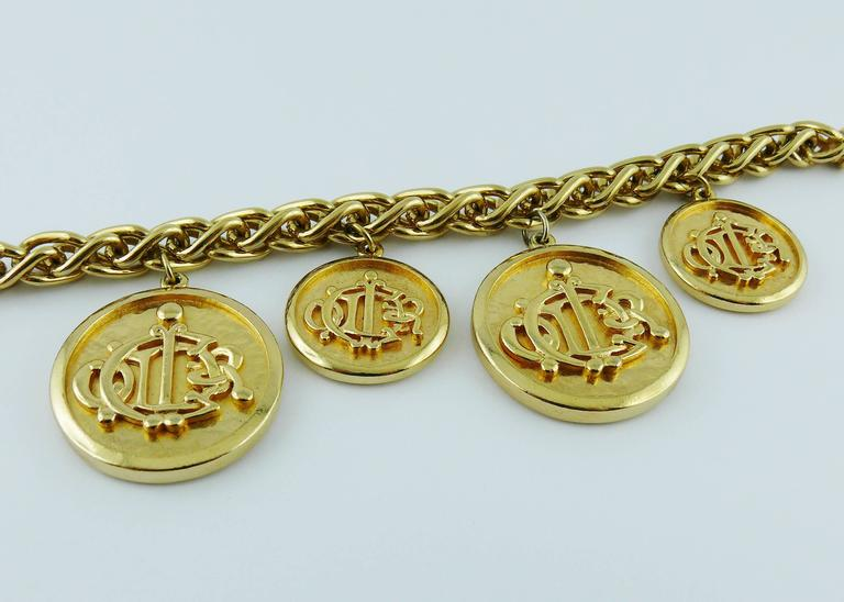 Christian Dior Vintage Gold Toned Signature Coin Charm Necklace 3