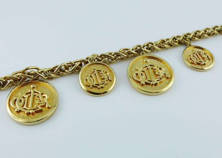 Christian Dior Vintage Gold Toned Signature Coin Charm Necklace 5