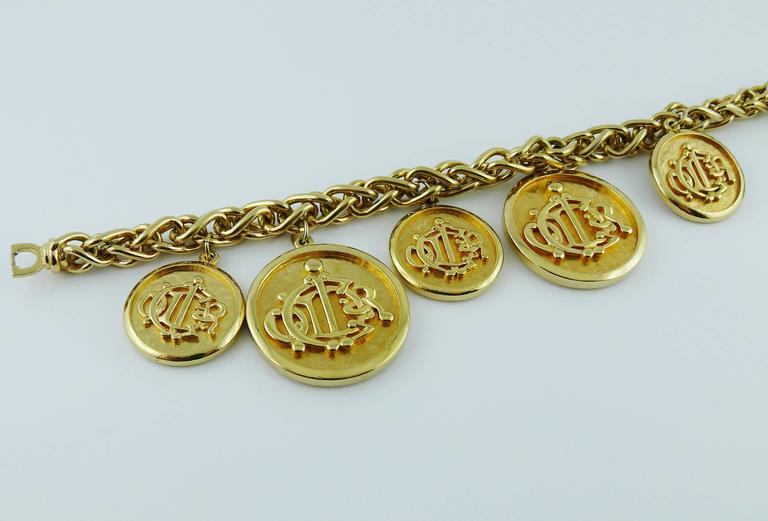 Christian Dior Vintage Gold Toned Signature Coin Charm Necklace 6