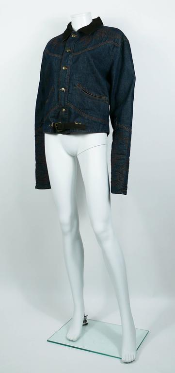 Jean Paul Gaultier Men's Western-style Cowboy Denim Jacket USA Size 32 For Sale 2
