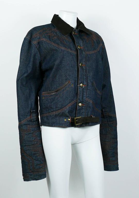 Black Jean Paul Gaultier Men's Western-style Cowboy Denim Jacket USA Size 32 For Sale
