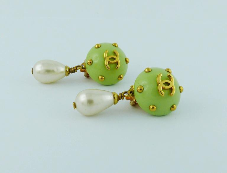 Chanel Vintage Studded Dangling Earrings Cruise 1996 For Sale 1