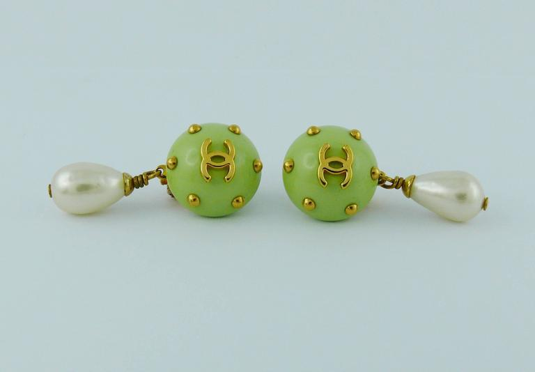 Women's Chanel Vintage Studded Dangling Earrings Cruise 1996 For Sale