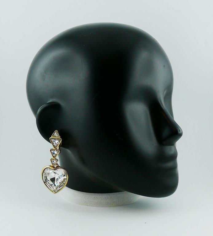 Yves Saint Laurent YSL Vintage Massive Diamante Heart Dangling Earrings 2