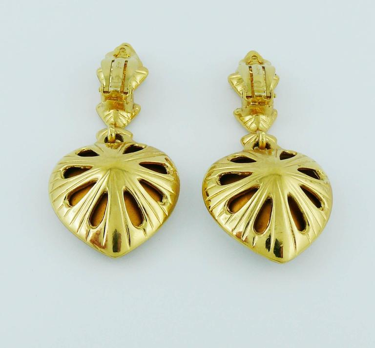 Yves Saint Laurent YSL Vintage Massive Diamante Heart Dangling Earrings 7