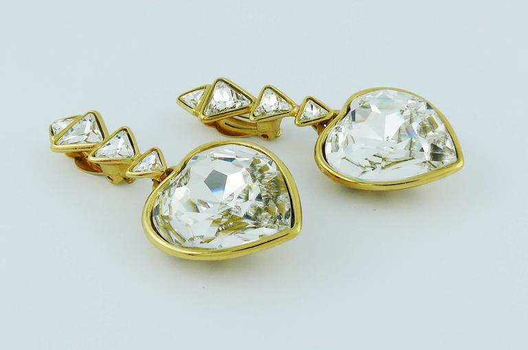 Yves Saint Laurent YSL Vintage Massive Diamante Heart Dangling Earrings In Good Condition For Sale In French Riviera, Cote d'Azur