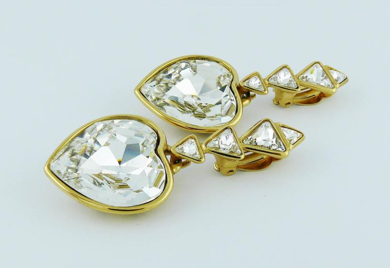 Yves Saint Laurent YSL Vintage Massive Diamante Heart Dangling Earrings For Sale 2