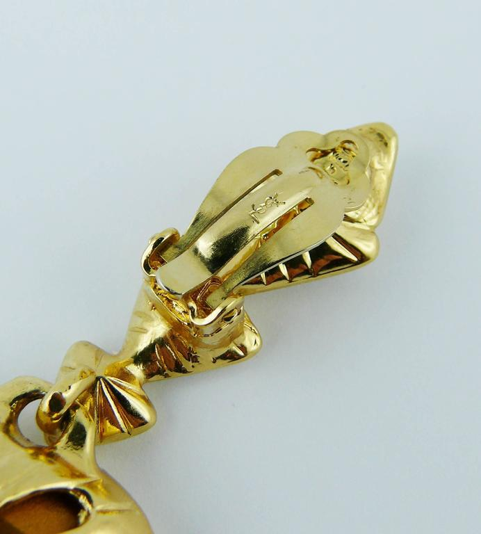 Yves Saint Laurent YSL Vintage Massive Diamante Heart Dangling Earrings 8