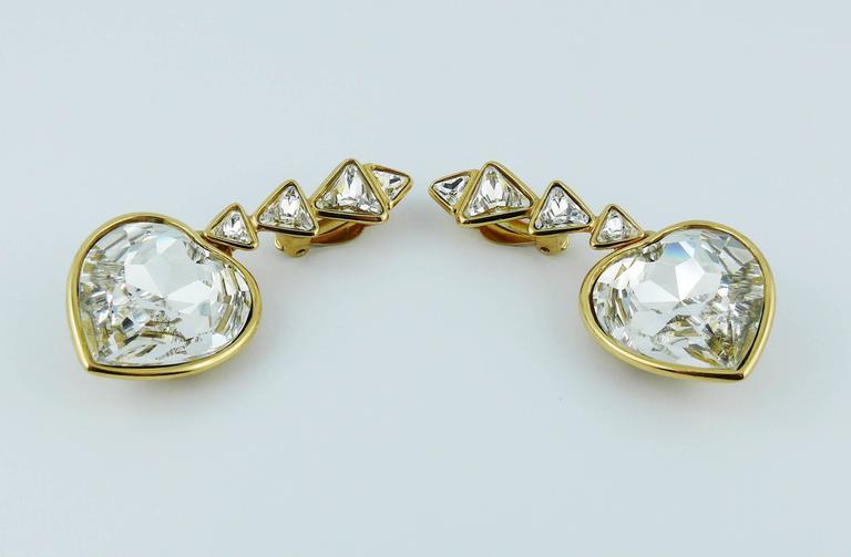 Yves Saint Laurent YSL Vintage Massive Diamante Heart Dangling Earrings For Sale 1
