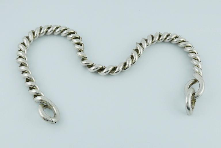 Hermès Vintage Silver Torsades Necklace In Good Condition For Sale In French Riviera, Cote d'Azur