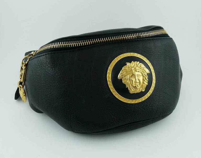 Gianni Versace Vintage 1990s Black Leather Medusa Waist