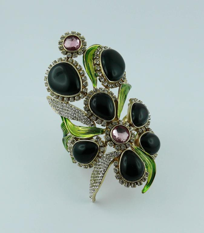 eef7819e2405 Yves Saint Laurent YSL by Tom Ford Jewelled Orchid Runway Cuff Bracelet In Excellent  Condition For