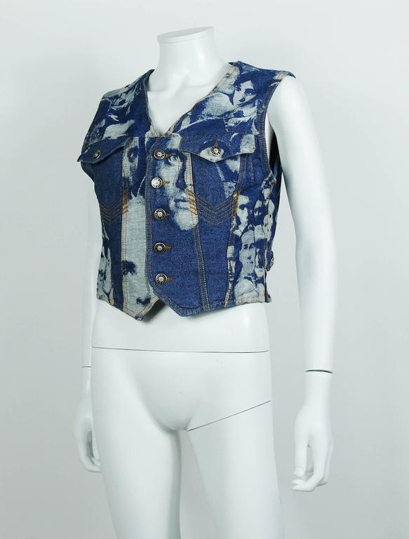 e597e31a6a8e9 Jean Paul Gaultier Vintage Iconic Face Jacquard Denim Vest In Excellent  Condition For Sale In French