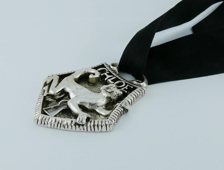 Chloé Silver Toned Monkey Lock Pendant Necklace For Sale 1