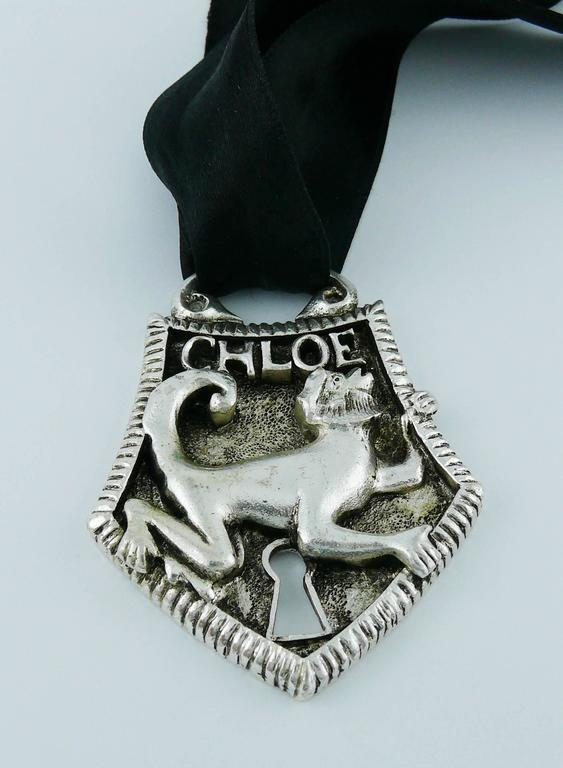 Women's Chloé Silver Toned Monkey Lock Pendant Necklace For Sale