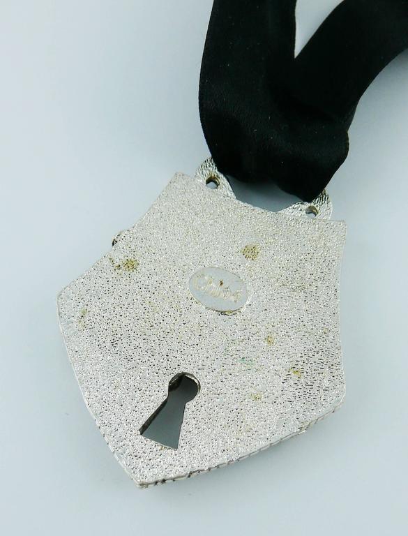 Chloé Silver Toned Monkey Lock Pendant Necklace For Sale 4