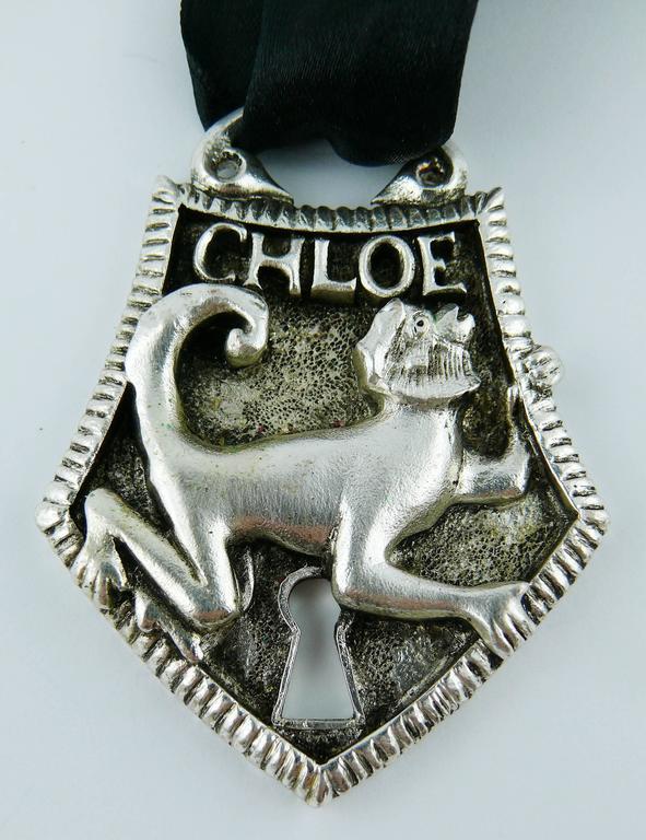 Chloé Silver Toned Monkey Lock Pendant Necklace For Sale 2