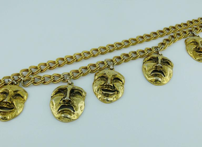 Moschino Vintage Rare 1990s Gold Toned Tragedy Comedy Masks Belt For Sale 1