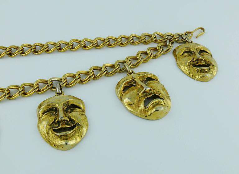 Moschino Vintage Rare 1990s Gold Toned Tragedy Comedy Masks Belt For Sale 2