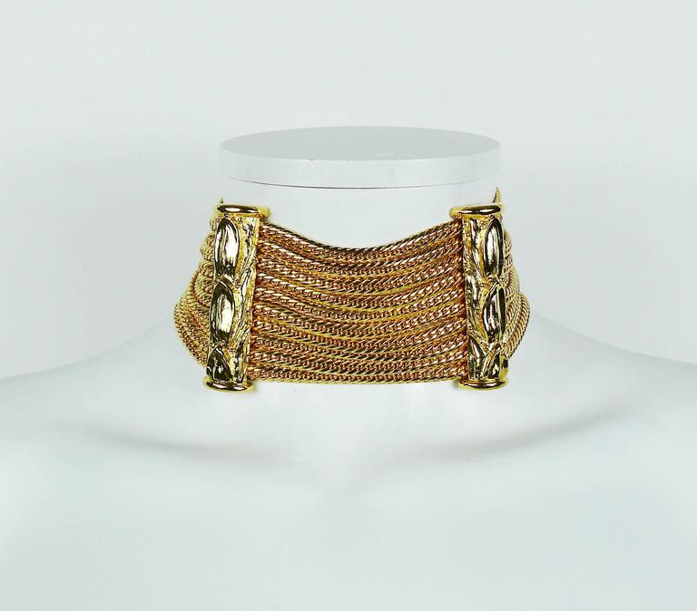 Christian Dior Boutique Vintage Gold Toned Multi Chain Choker Necklace 3